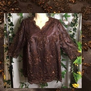 *LJ Johnson* Vintage lace and crystals top 🤎🤎🤎